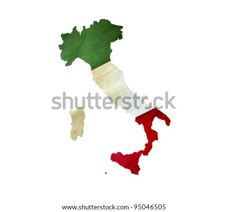 Map of Italy isolated - stock photo