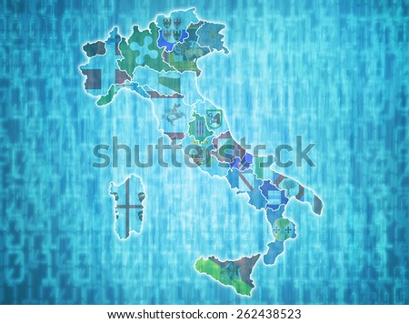 map of italy with administrative divisions over digital background - stock photo