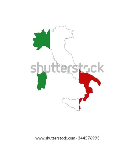 Map of Italy with national flag isolated on white background - stock photo