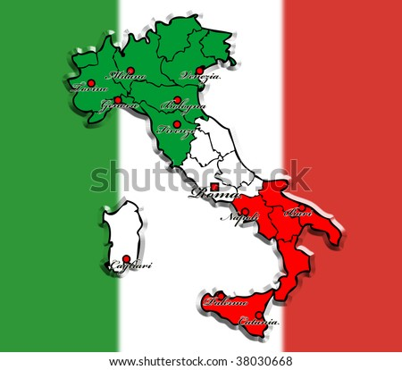 map of italy with the largest cities - stock photo