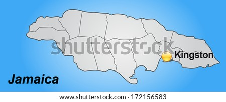 Map of Jamaica with borders in gray - stock photo