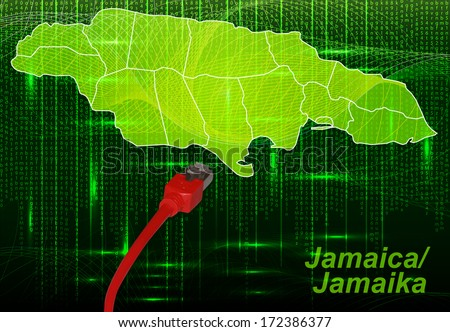 Map of Jamaica with borders in network design - stock photo