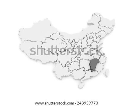 Map of Jiangxi. China. 3d - stock photo
