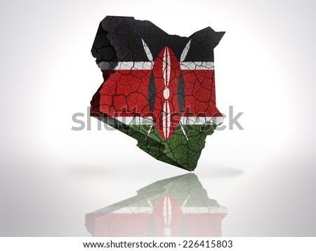 Map of Kenya with Kenyan Flag on a white background - stock photo