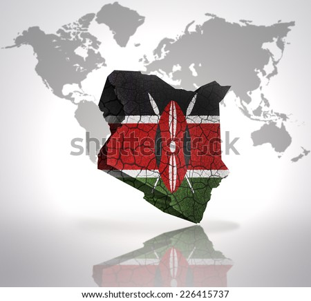 Map of Kenya with Kenyan Flag on a world map background - stock photo