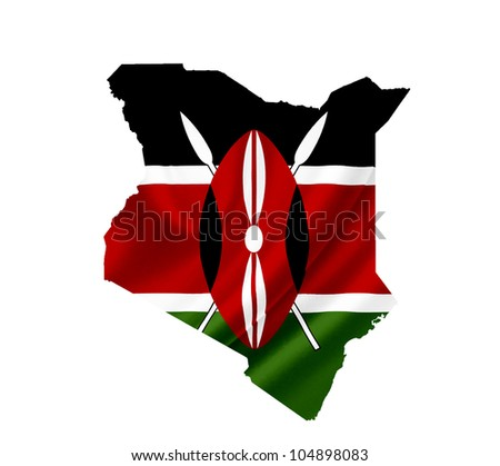 Map of Kenya with waving flag isolated on white - stock photo