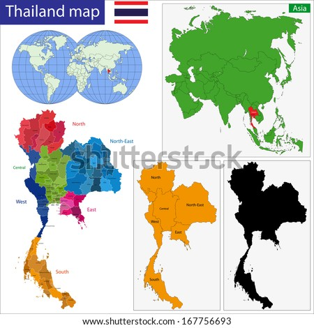 Map of Kingdom of Thailand with the provinces colored in bright colors - stock photo