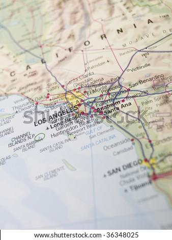 Map of Laos Angeles - stock photo
