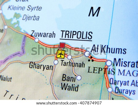 Map of Libya with focus on Tripolis - stock photo
