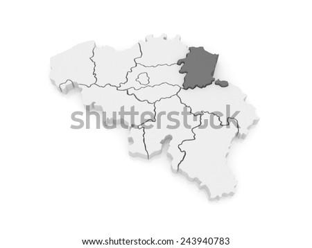 Map of Limburg. Belgium. 3d - stock photo
