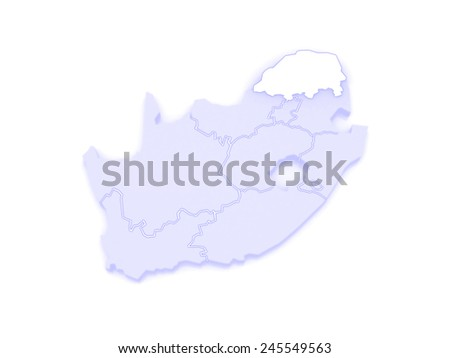 Map of Limpopo (Polokwane). South Africa. 3d - stock photo