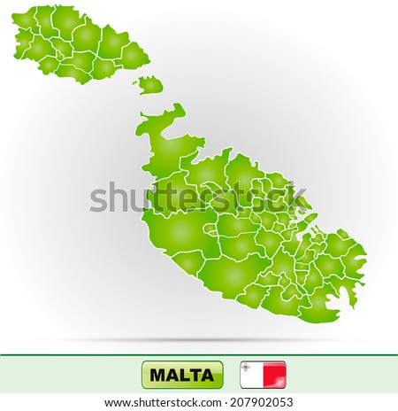 Map of Malta with borders in green - stock photo