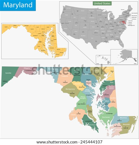 Map of Maryland state designed in illustration with the counties and the county seats - stock photo