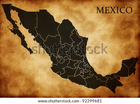 Map of Mexico - stock photo