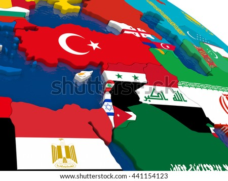 Map of Middle East with embedded flags on 3D political map. Accurate official colors of flags. 3D illustration - stock photo