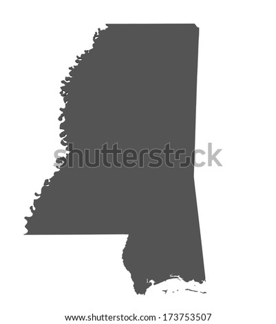 Map of Mississippi - USA - stock photo