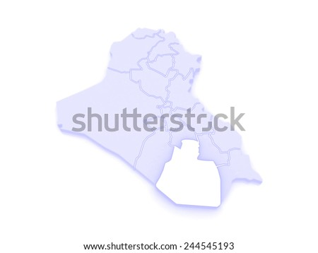 Map of Muthanna. Iraq. 3d - stock photo