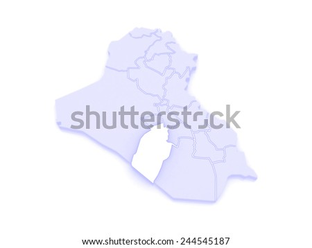 Map of Najaf. Iraq. 3d - stock photo