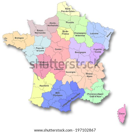 Map of new regions of France - stock photo