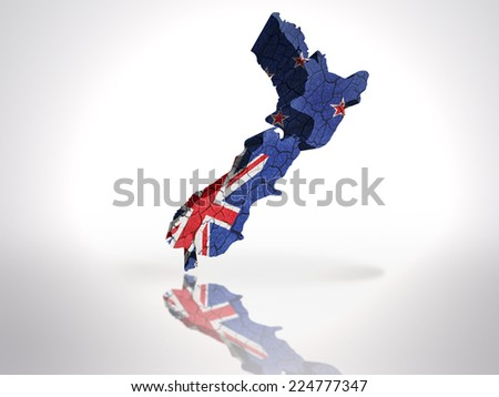 Map of New Zealand with New Zealand Flag on a white background - stock photo
