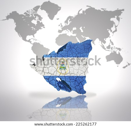 Map of Nicaragua with Nicaraguan Flag on a world map background - stock photo