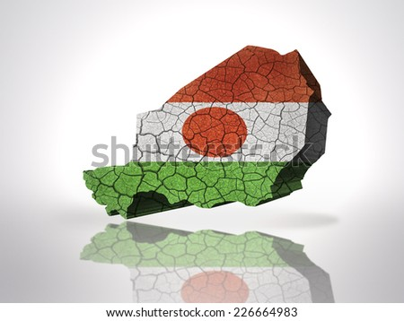 Map of niger with niger Flag on a white background - stock photo