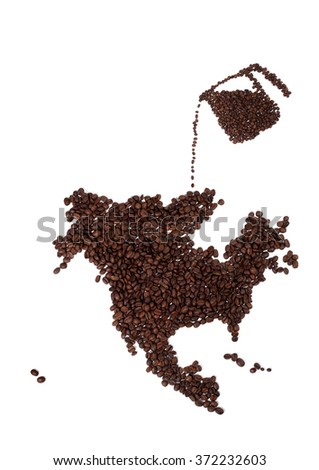 Map of North America Made of Coffee Beans with Pot - stock photo
