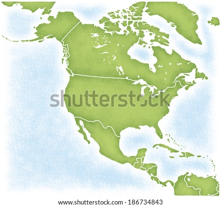 Map of North American continent - stock photo