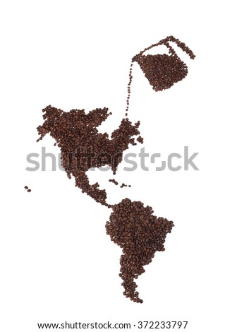 Map of North and South America Made of Coffee Beans with Pot - stock photo