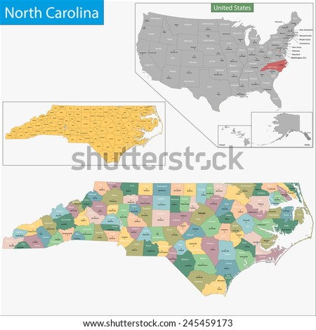 Map of North Carolina state designed in illustration with the counties and the county seats - stock photo