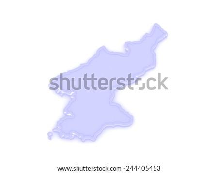 Map of North Korea. 3d - stock photo