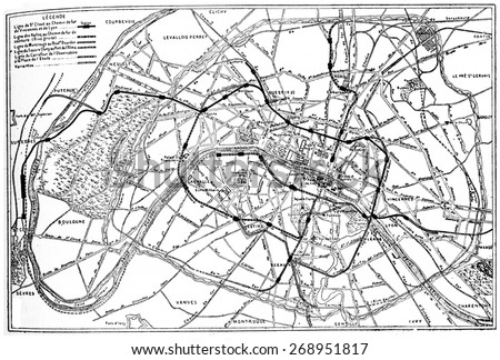 Map of Paris metropolitan railway project, vintage engraved illustration. Industrial encyclopedia E.-O. Lami - 1875.  - stock photo