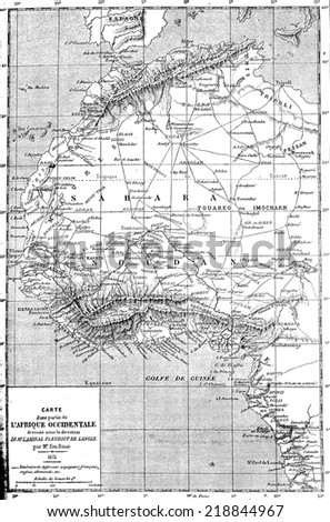 Map of part of the West Africa, vintage engraved illustration. Le Tour du Monde, Travel Journal, (1872).  - stock photo