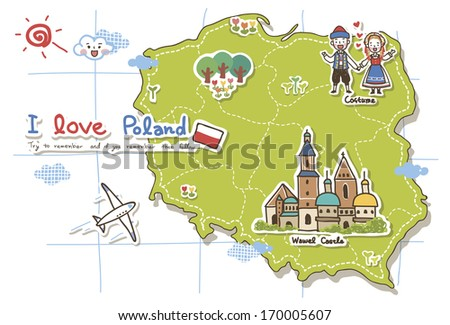 Map of Poland highlighting some points of interest. - stock photo