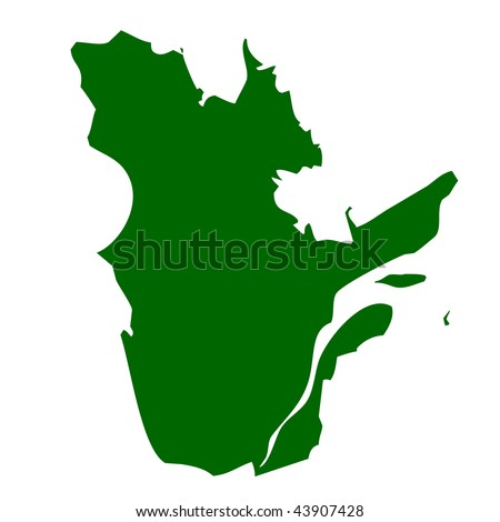 Map of Quebec province or territory in Canada, isolated on white background. - stock photo
