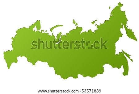 Map of Russia in gradient green, isolated on white background. - stock photo