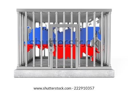 Map of Russia in Metal Cage with Lock on a white background - stock photo