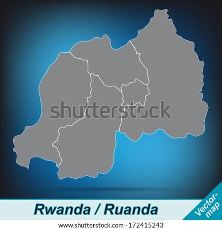 Map of Rwanda with borders in bright gray - stock photo