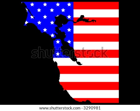 map of San Francisco Bay area and American flag illustration - stock photo