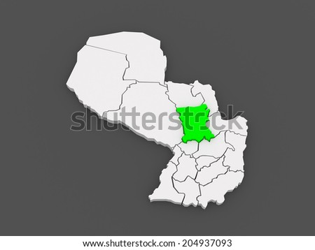 Map of San Pedro. Paraguay. 3d - stock photo