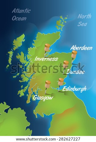 Map Of Scotland, this is a contemporary map of the nation of Scotland with its main population areas located with pins and labels. - stock photo