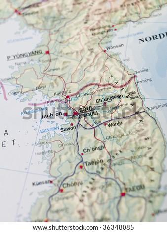 Map of Seoul - stock photo