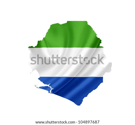 Map of Sierra Leone with waving flag isolated on white - stock photo