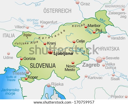 Map of Slovenia as an overview map in pastel green - stock photo