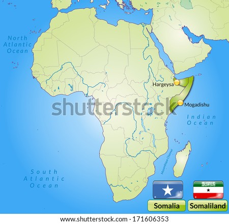 Map of Somalia with main cities in green - stock photo