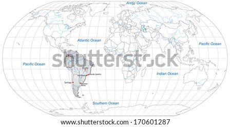 Map of South America with main cities in gray - stock photo