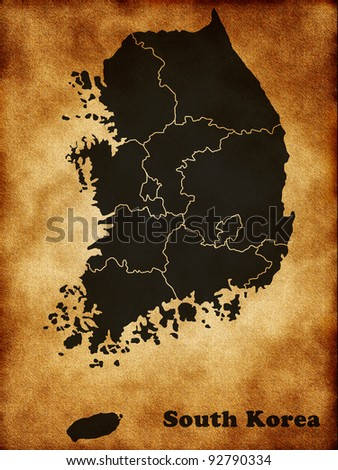 Map of South Korea - stock photo