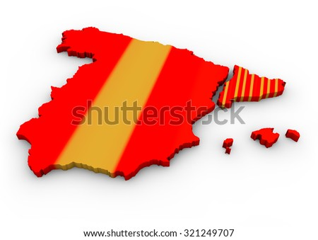 map of spain with a separated catalonia - stock photo