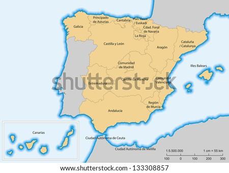 Map of Spain with islands. Autonomous communities. Escale 1:5500000. UTM projection - stock photo