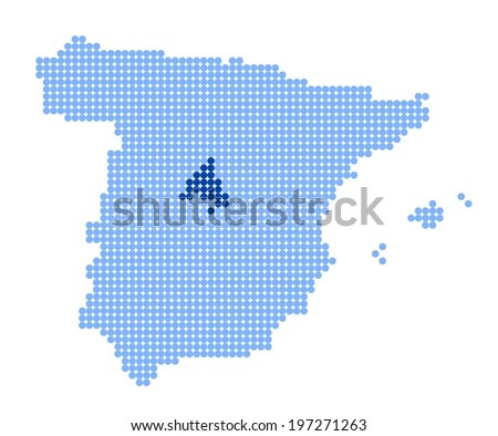 Map of Spain with stylized map of Community of Madrid made from blue dots - stock photo